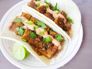 tequila lime tacos with chipotle crema