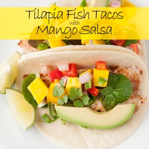 tilapia fish tacos with mango salsa