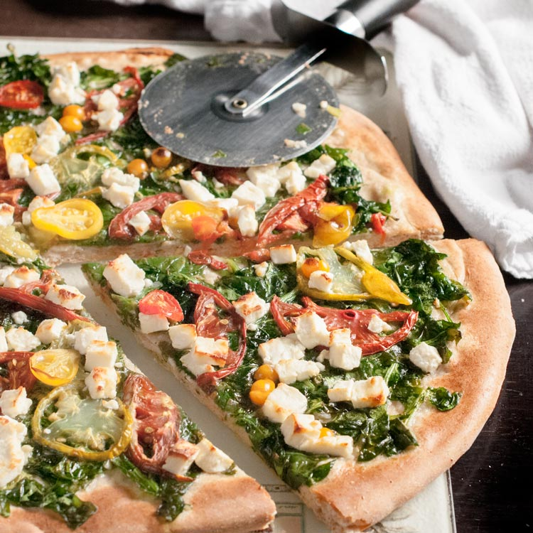 Homemade Spinach Feta Pizza