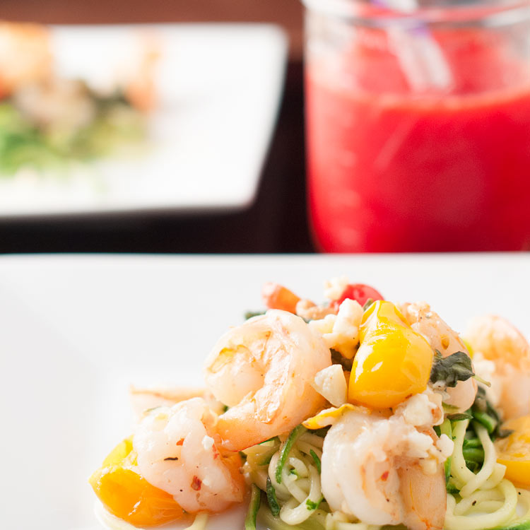 Spicy Sauteed Shrimp and Feta Zoodles