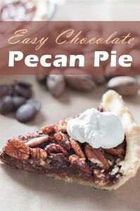 how to make easy chocolate pecan pie with homemade pie crust and homemade whipped cream
