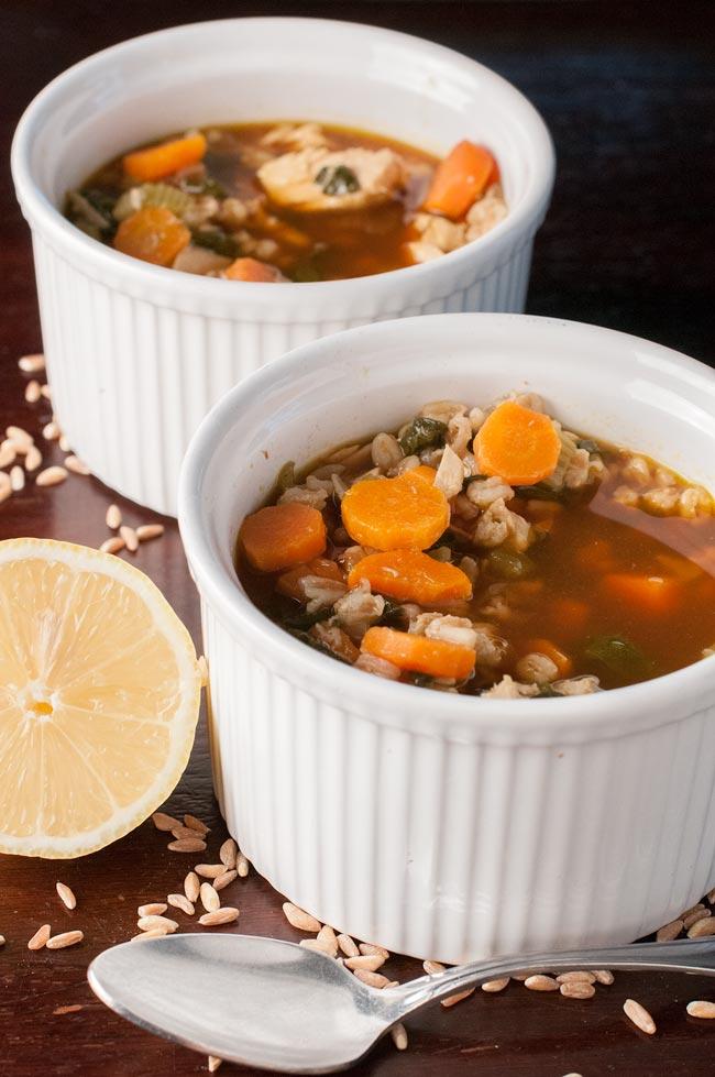 healthy spinach lemon farro chicken soup