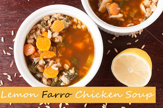 Healthy Spinach Farro Lemon Chicken Soup