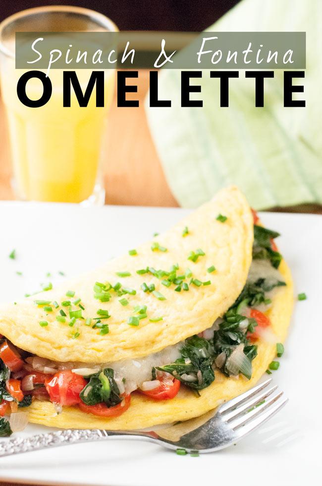 Spinach Fontina Veggie Omelette