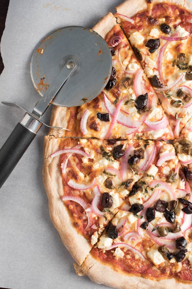 kalamata olives and feta cheese greek style pizza
