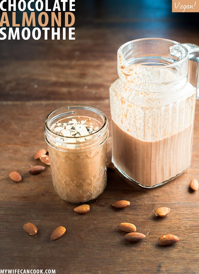 vegan chocolate almond smoothie -- made with cacoa