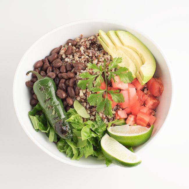 vegan gluten-free cilantro quinoa burrito bowl