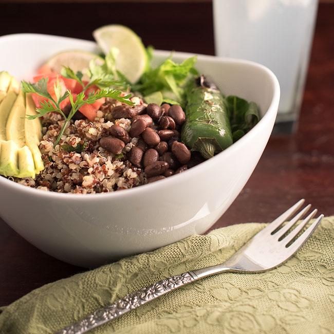 Vegan Cilantro Quinoa Taco Bowls