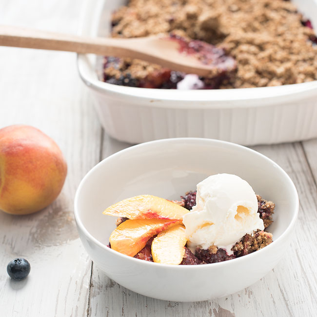 mixed berry crisp - blackberry, blueberry, peach crisp