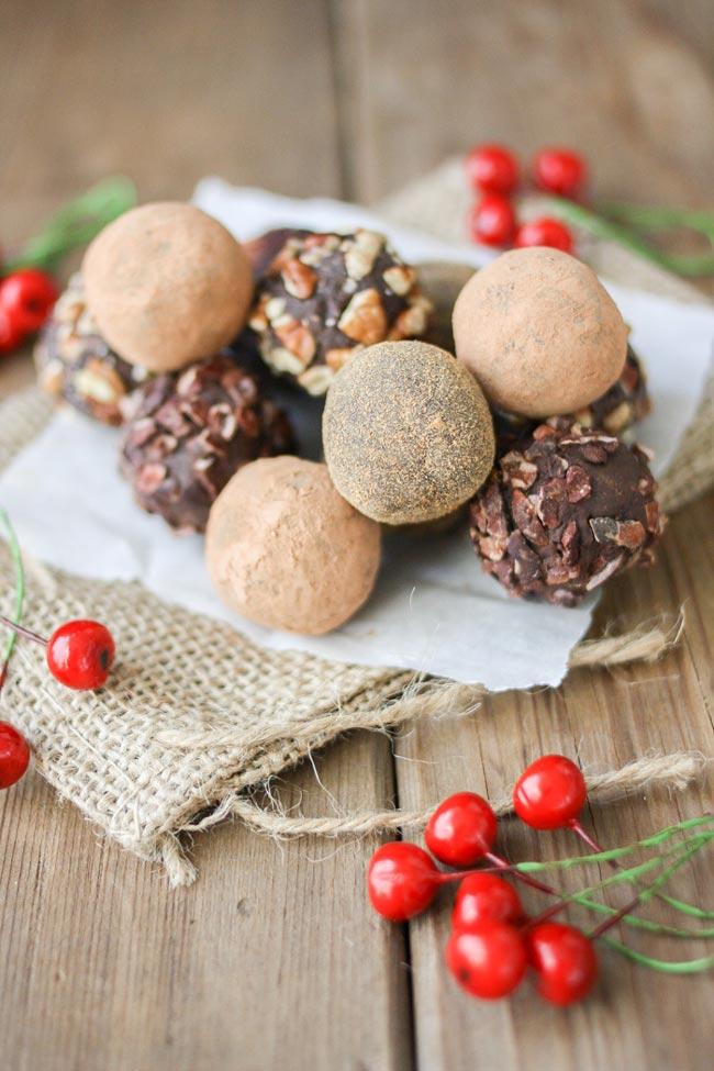 Vegan Cranberry Crunch Dark Chocolate Truffles