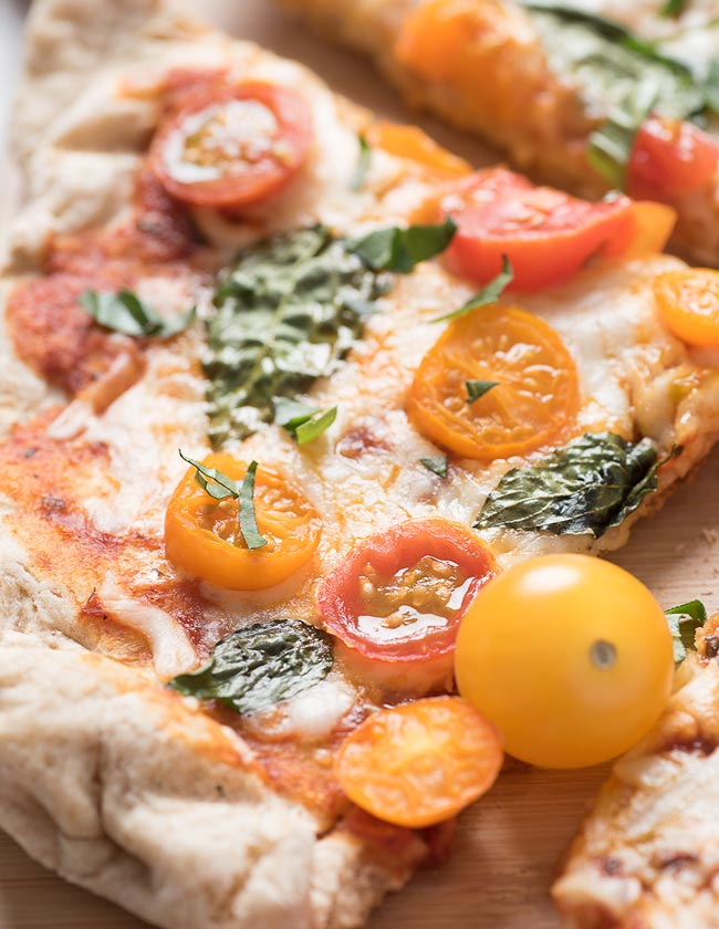 grape tomatoes and basil -- grilled pizza