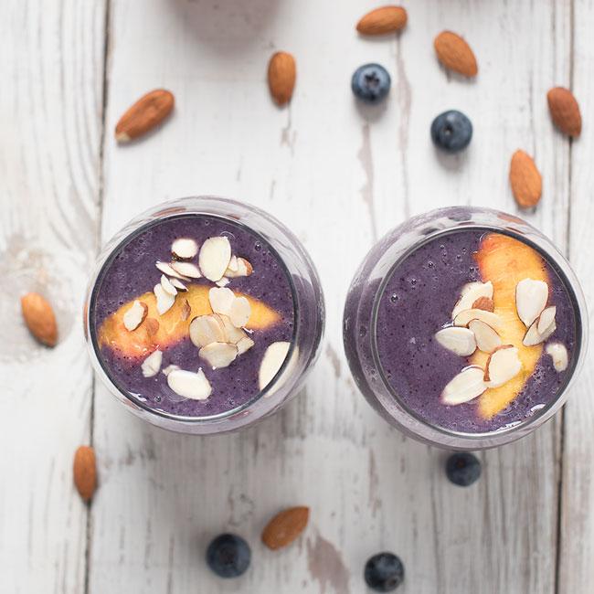 Peach Blueberry Almond Milk Smoothie